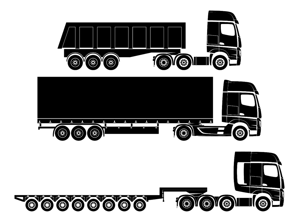 Verschillende soorten trucks en trailers
